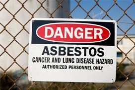 Asbestos danger sign small