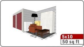 Illustration of 50 sq ft area