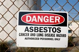 Asbestos danger sign small