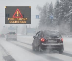 Vehicle in poor driving conditions